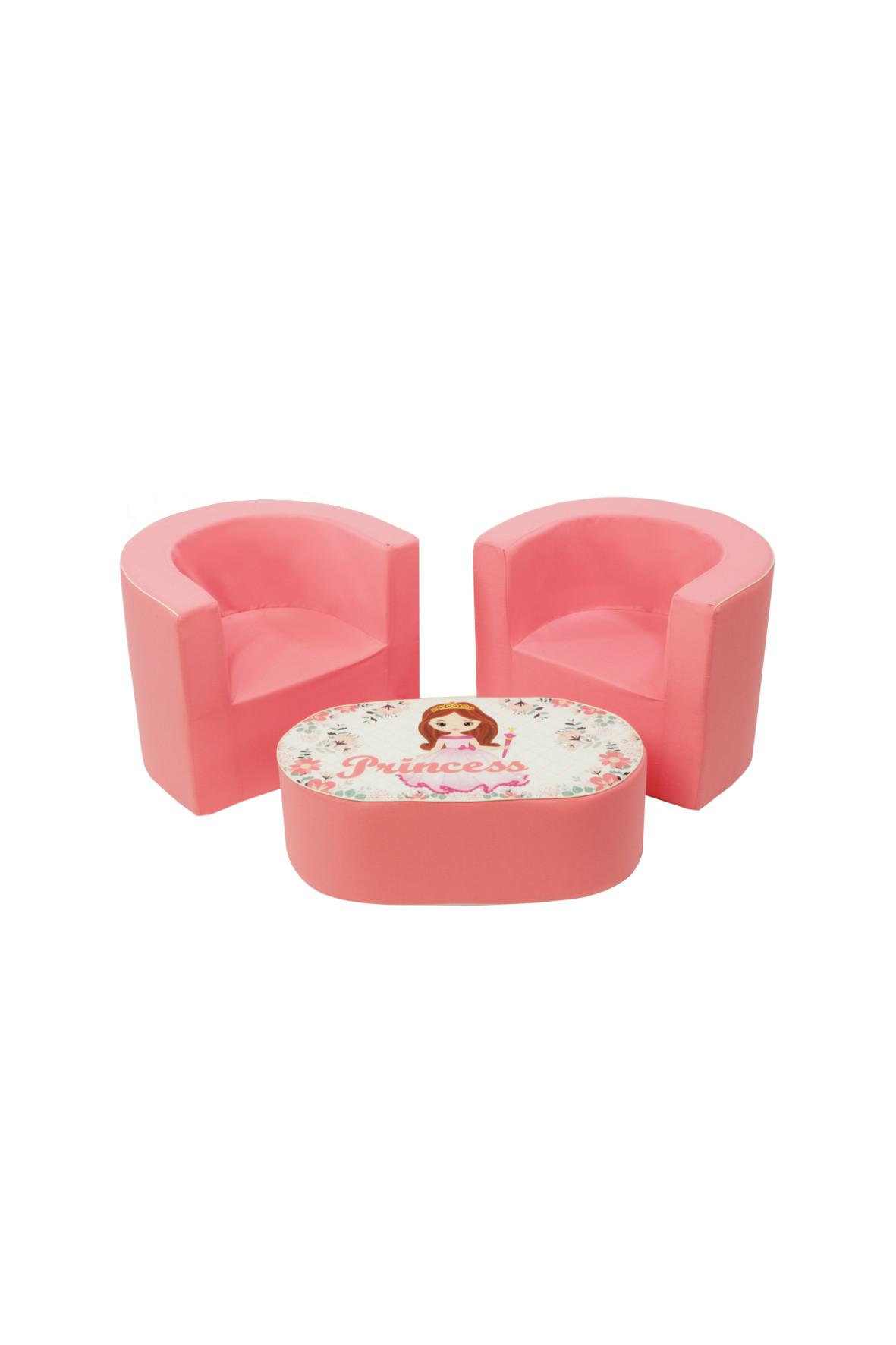 Zestaw 2 foteliki +stolik różowe 5O36HY