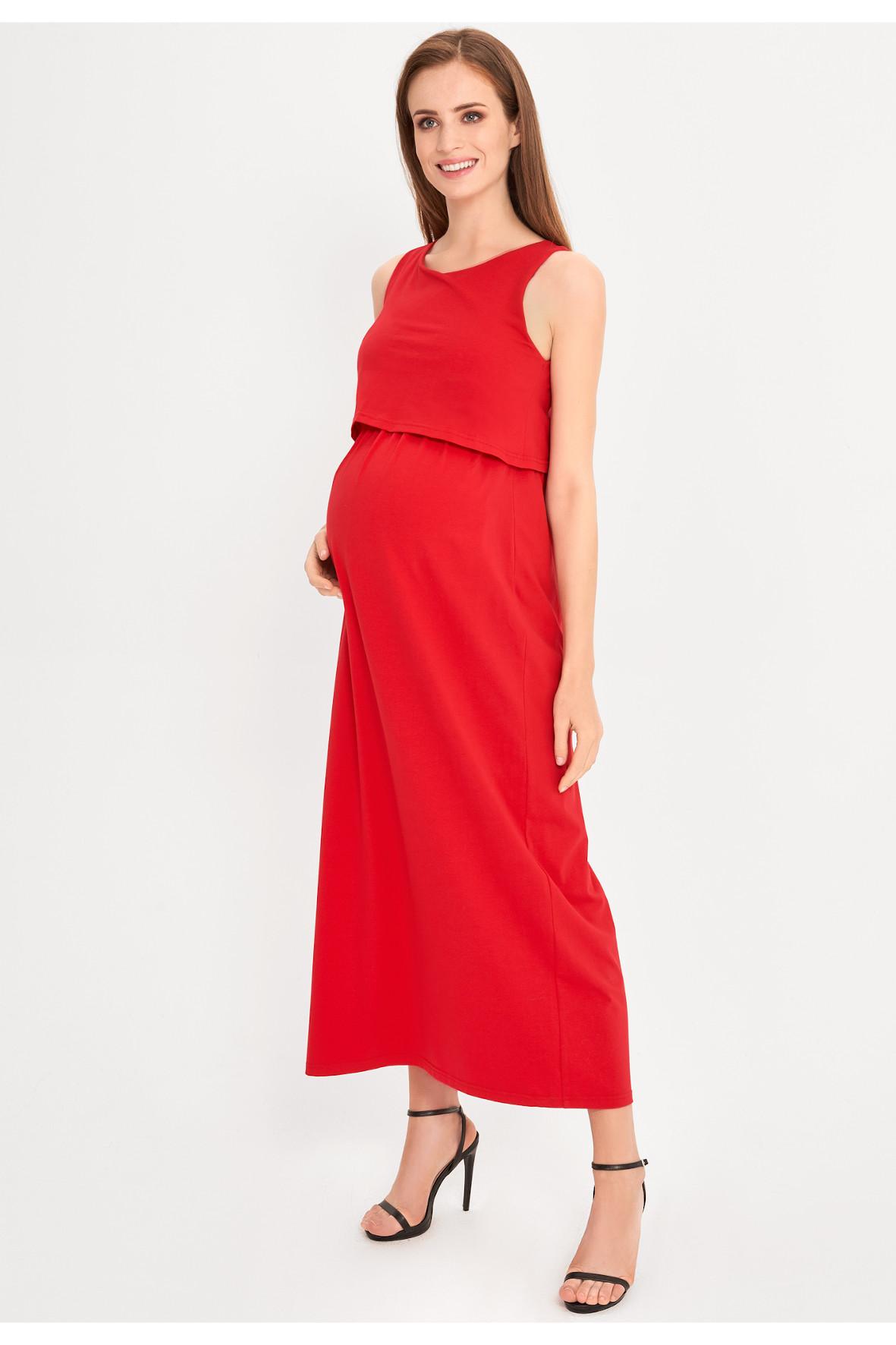 Sukienka ciążowa MAXI czerwona 5O38B1